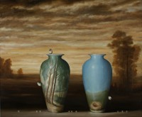 Landscape and Two Vases    oil on linen    48 x 58    2013