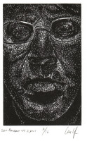 Len Upin, Self Portrait. Wood Cut 2007
